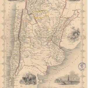 Tres catalans signen la primera Constitució de la nació argentina. Mapa de l'Argentina (1856). Font Cartoteca de Catalunya