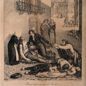 El doctor André Mazet cuidant malalts de febre groga a Barcelona (1821). Font Wikimedia Commons