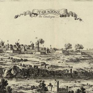 L'exèrcit catalano francès destrueix la flota ancorada a Tarragona. Gravat francès de Tarragona (1659). Font Cartoteca de Catalunya