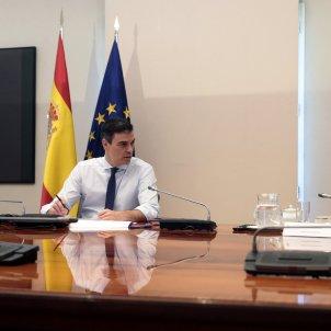 Conferència presidents Pedro Sánchez salvador Illa Pool Moncloa