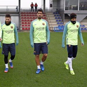 Messi, Neymar, Suarez, Pique entrenament Barça