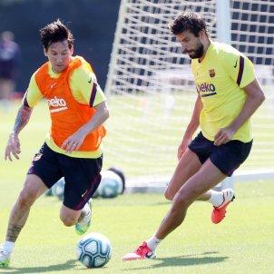 Leo Messi Gerard Pique Barca entrenament @FCB