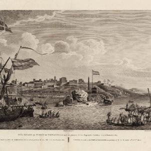 Carles III aprova el disseny de la primera bandera espanyola. La bandera espanyola a la punta del port militar de Tarragona (1806). Font Cartoteca de Catalunya