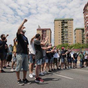 Protesta treballadors Nissan mobilitzacions tall carretera Gran Via - Sergi Alcàzar