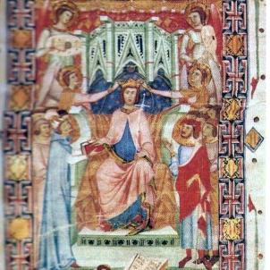 Neix Jaume II, el primer rei de Mallorca. Representació coetània de la coronació de Jaume II. Font Viquipedia