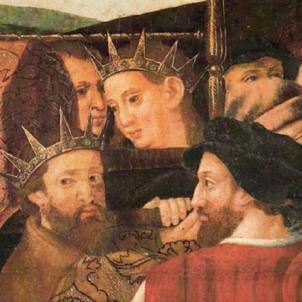 Es consuma la conspiració que liquidaria la nissaga reial Berenguer Aragó. Representació de Martí l'Humà i Martí el Jove. Font Museu Diocesà de Barcelona