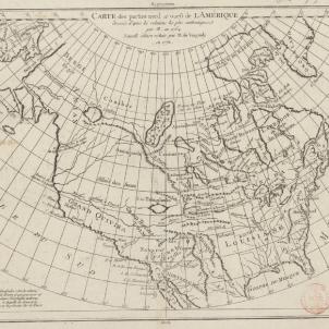 Serra funda la primera missió de Califòrnia. Mapa d'Amèrica del Nord (1784). Font Bibliothèque Nationale de France