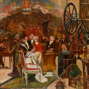 Representació de la visita de Ferran VII a la Llotja l'any 1827, obra d'Emili Casals. Font MUHBA