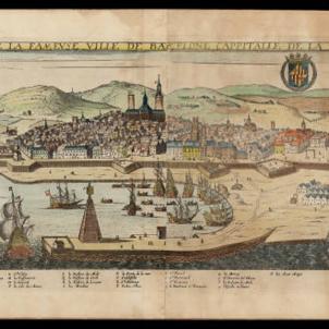Pren possessió el substitut del virrei assassinat durant el Corpus de Sang. Vista de Barcelona (1645). Font Cartoteca de Catalunya