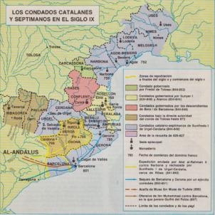Mor Lluís el Pietòs, creador del comtat de Barcelona. Mapa del marquesat de Gotia. Font Arxiu d'El Nacional