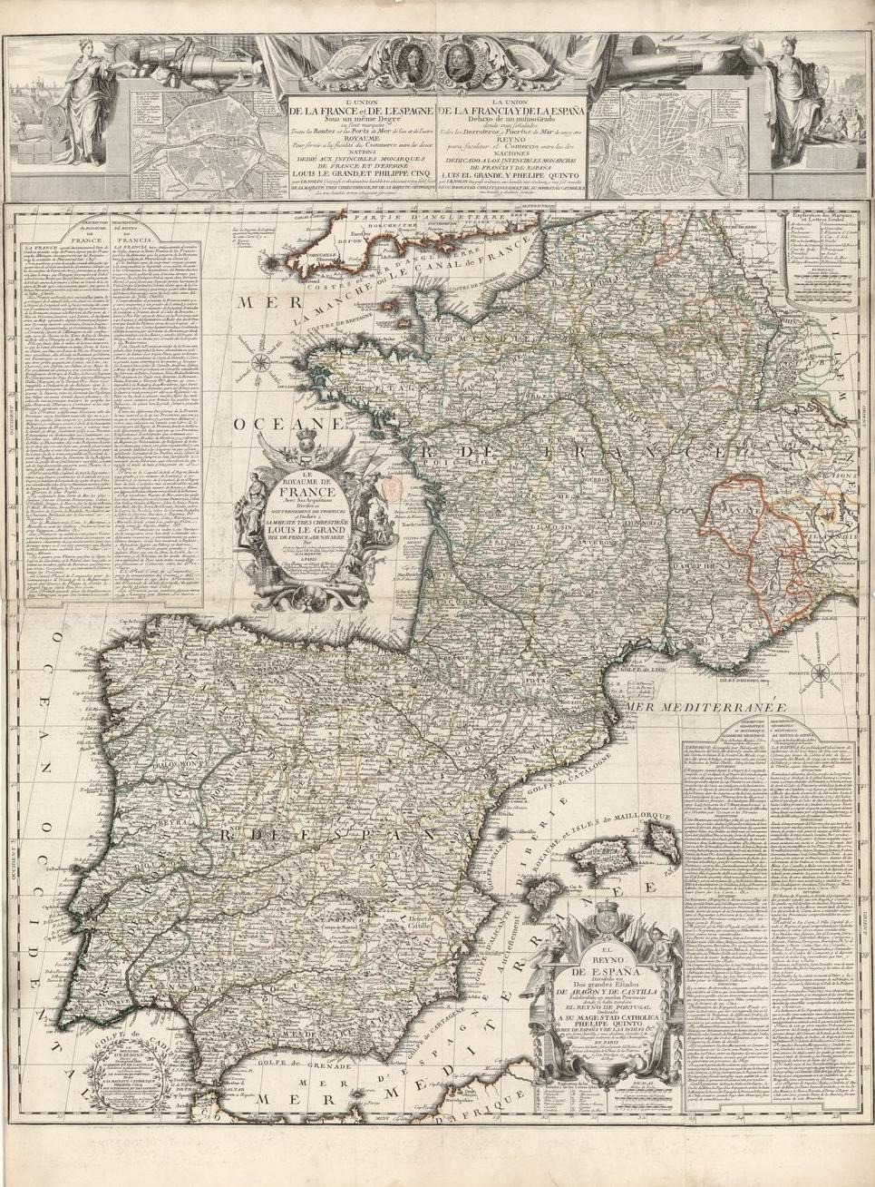 El union de la France te del Espagne sueldos un même degré (1700), obra de Nolin. Fuente Cartoteca de Catalunya