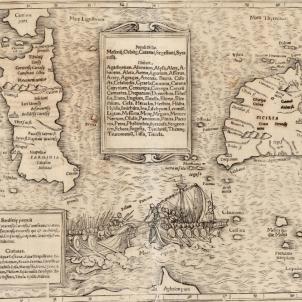 Martí el Jove aconsegueix el domini definitiu sobre Sardenya. Mapa de Sicília i Sardenya (1542). Font Cartoteca de Catalunya