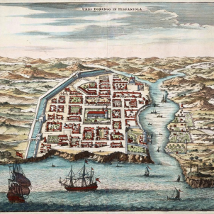 Un huracà destrueix la primera capital americana, que havien fundat els Colom. Plànol de Santo Domingo (segle XVI). Font Enciclopedia Dominicana