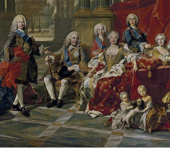 Fernando VI, Felipe V e Isabel Farnese (1743), obra de Michel Van Loo. Fuente Wikimedia Commons