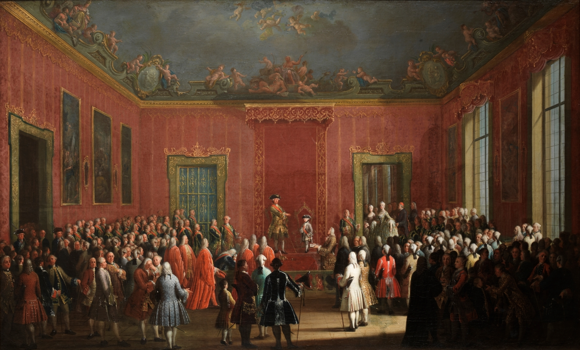 Abdicació de Carlos III (1759), obra de Antonio Joli. Carlos III entrega la corona de Nàpols a Ferran I. Font Museo del Prado