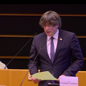 Carles Puigdemont al Ple del Parlament Europeu