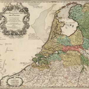 Felip II ordena l'assassinat del lider independentista Guillem d'Orange. Mapa dels Paisos Baixos (1702). Font Cartoteca de Catalunya (1)