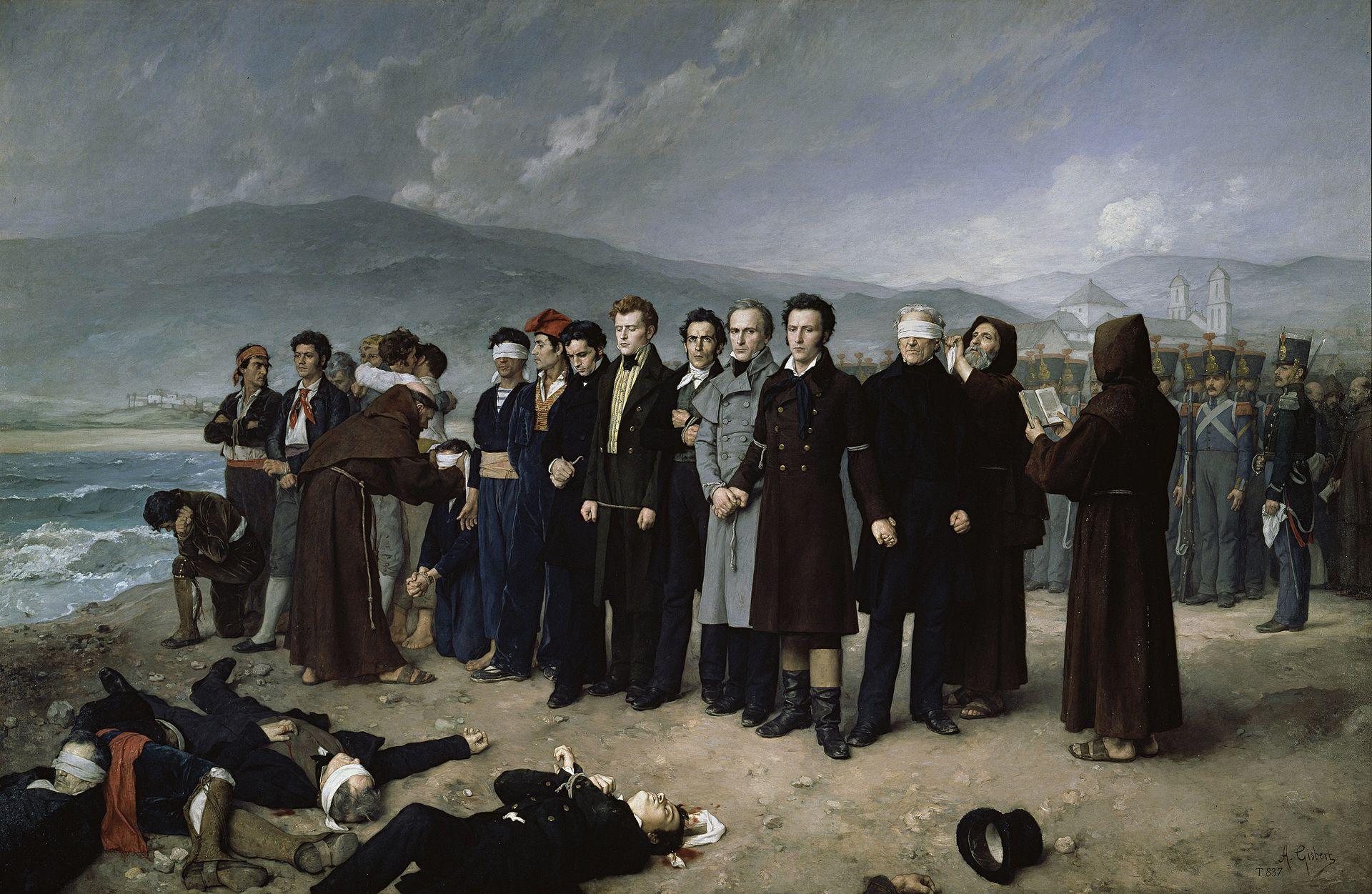 Fusilamiento de las víctimas del regimos de terror de Fernando VII. (Fusilamiento de Torrijos, 1888, obra de Antoni Gisbert). Font Museo del Prado