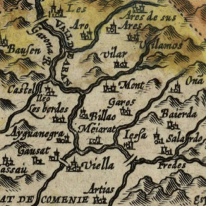 Test 105. El país d'Aran. Mapa d'Aran (1608), fragment d'un mapa de Catalunya. Font Cartoteca de Catalunya