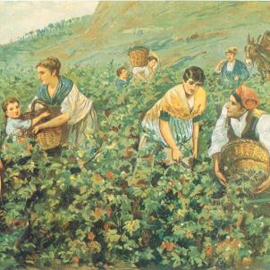 Es suprimeix el darrer tribut que cobrava l'Esglèsia. Imatge de pagesos (segle XIX). Font Enciclopedia