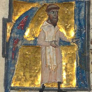 Test 107. L'Orde del Cister a Catalunya. Miniatura d'un monjo del Cister (segle XII). Font Bibliothèque Nationale de France