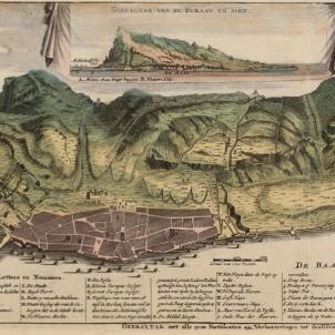 Basset planta la senyera catalana a la platja de Gibraltar. Plànol de Gibraltar (1700). Font Cartoteca de Catalunya