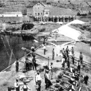 Test 109. El Canal d'Urgell. Fotografia de les obres de construcció a Ponts (circa 1850). Font Balaguer TV