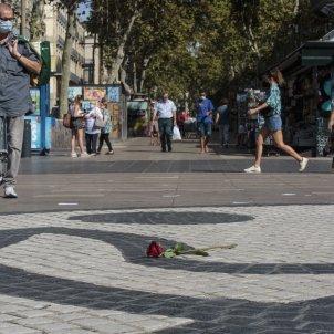 Rosa Homenatge atemptat 17-A La Rambla ofrena floral - Sergi Alcazar