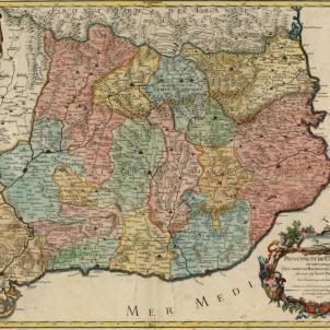 Carles d'Habsburg presenta el seu primer i unic virrei a Catalunya. 18 08 1706. Mapa de Catalunya (1706). Font Cartoteca de Catalunya