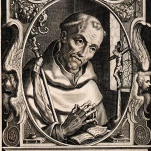 Mor Bernat de Claravall, introductor del Cister a Catalunya. Imatge barroca de Bernat. Font Bibliothèque Nationale de France