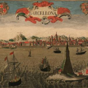 Els austriacistes desembarquen a Catalunya. Imatge de Barcelona (1700). Font Cartoteca de Catalunya