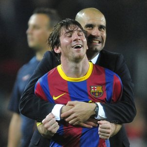Pep Guardiola Leo Messi abraçada GTRES