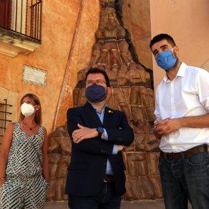 Pere Aragonès a Altafulla, amb Noemí Llauradó i Jordi Molinera ACN