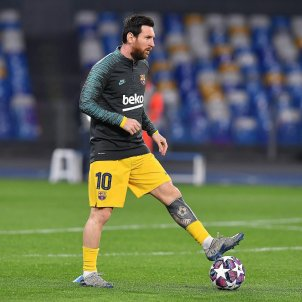 Leo Messi escalfament Champions Napols Europa Press