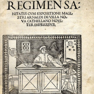 Mor Arnau de Vilanova, icona de la medicina medieval. 08 09 1340. Portada del Regimen Sanitaris (1480). Font Viquipedia