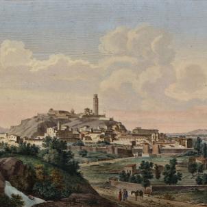 Test 113. Lleida i la Terra Ferma. Vista de Lleida (1806), obra de Laborde. Font Cartoteca de Catalunya
