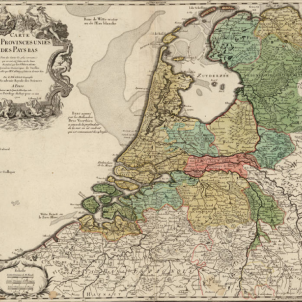 Mor Jacob Cats, l'aliat neerlandès de Pau Claris. Mapa dels Països Baixos (1702). Font Cartoteca de Catalunya