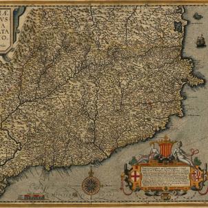 La Generalitat ordena la primera lleva contra la monarquia hispànica. Mapa de Catalunya (1608). Font Cartoteca de Catalunya