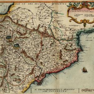 Carles d'Habsburg renuncia a Madrid i es retira a Catalunya. Mapa del quadrant nord oriental peninsular. Font Cartoteca de Catalunya