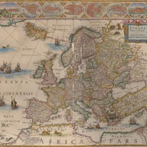 Neix Jan Blaeu, el cartograf que va dibuixar la I República catalana. Mapa d'Europa (1645). Font Biblioteca Nacional de España
