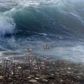 tsunami ciutat devastada onada pixabay