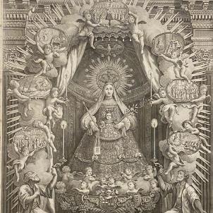 Es celebra la primera festivitat oficial de la Mercè. Gravat de la Mare de Deu de la Mercè (segle XIX). Font Basilica de la Mercè