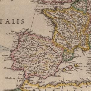 Felip IV intenta recular després de declarar la guerra a Catalunya. Fragment d'un mapa de la Geografia Blaviana. Font Biblioteca Nacional de España