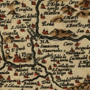 Test 115. Osona. Fragment d'un mapa de Catalunya de 1612. Font Cartoteca de Catalunya