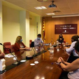La ministra de Treball, Yolanda Díaz, en una reunió amb els sindicats. Foto: Europa Press