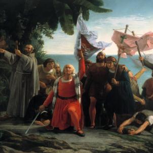 Representació de Colom desembarcant a la Hispaniola, obra de Dioscóro Puebla (1862). Font Museu del Prado