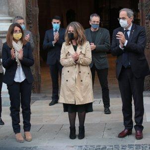Meritxell Budo Quim Torra Ester Capella Acte llamborda stopersteine Lluis Companys plaça Sant Jaume - Sergi Alcàzar