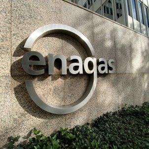 Detall de logo d'Enagás a la seu de l'empresa d'infraestructures de gas natural a Madrid. Foto: Europa Press
