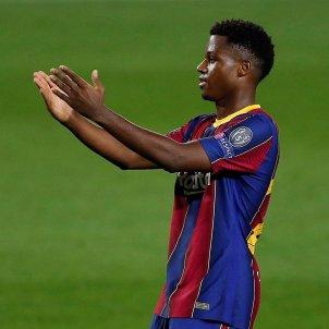 Ansu Fati celebra gol Barca Champions EFE