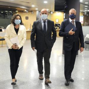 La ministra de Turisme, Verònica Canals; el ministre de Justícia i Interior, Josep Maria Rossell, i el ministre de Salut, Joan Martínez Benazet GovernAndorra